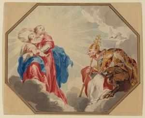 De aanbidding van de Madonna door de paus Gregorius de Grote