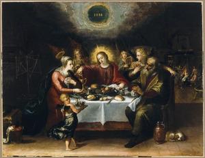 De Heilige Familie aan de maaltijd, bediend door engelen