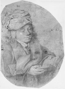 Lezende jongen met een sjaal rond zijn hoofd