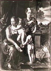 Madonna met kindje Jezus, de jonge Johannes de Doper en een staande man