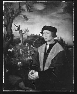 Portret van een man, met in de achtergrond de bekering van de H. Hubertus