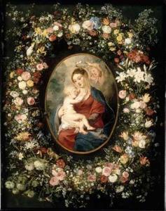 Madonna met Kind en engelen omringd door een bloemenkrans