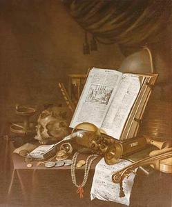 Vanitasstillleven met schedel, muziekinstrumenten, boeken en andere voorwerpen op een gedekte tafel