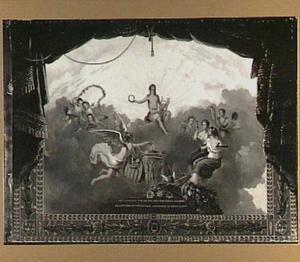 Voordoekontwerp van de Amsterdamse Stadsschouwburg: Apollo en de muzen
