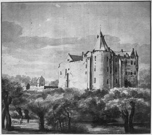 Kasteel Heukelum voor de verwoesting in 1672, vanuit het zuidoosten