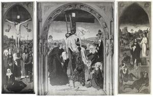 De kruisiging (links), de kruisafneming (midden), de opstanding (rechts)