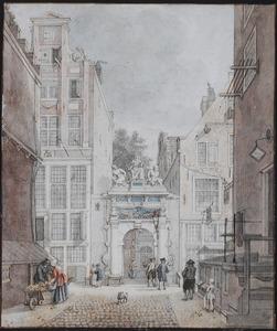 De poort van het Tucht- of Rasphuis te Amsterdam