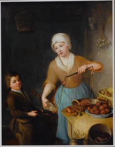 Interieur met een jonge vrouw die afgewogen hazelnoten aan een jongen geeft