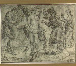 Van links naar rechts: Labor, Fortuna, Diligentia, Parsimonia: allegorische voorstelling op de vergankelijkheid van rijkdom