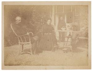 Portret van Hendrik Jacobus Vinkhuyzen (1843-1910), Leopoldine Marie gravin van Limburg Stirum (1817-1894) en Otto baron van Hogendorp (1858-1936)