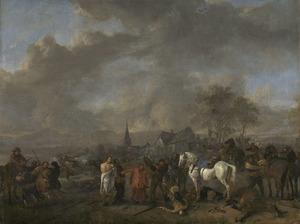 Landschap met overval op een dorp