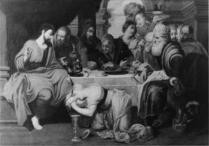 Maria Magdalena zalft de voeten van Christus in het huis van Simon de Farizeeër