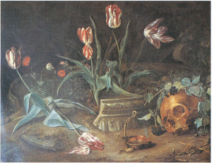 Vanitasstilleven met schedel met lauwerkrans en tulpen