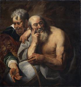 De lachende en de wenende filosofen Democritus en Heraclitus