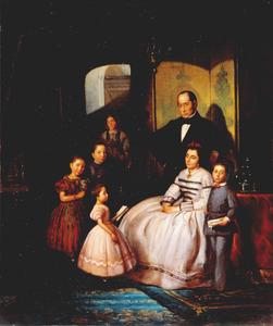 Portret van Jacob Henriques de Castro (1816-1875), Rachel Henriques de Castro (?-?) en hun kinderen