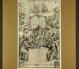Ontwerp voor een titelpagina met Vrouwe Justitia omringd door mannen in romeinse toga, op de achtergrond een rivierlandschap met boten