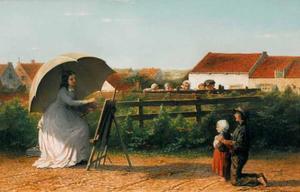 De schilderes met jonge toeschouwers