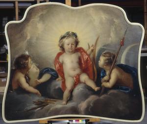 Apollo en zijn zuster Artemis als kinderen met putti