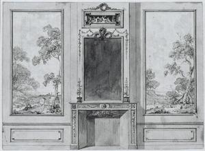 Wand met twee behangselvlakken ter weerszijden van een schoorsteen met spiegel