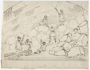 Agnites Vrolik en zijn reisgenoten in de grot van Han