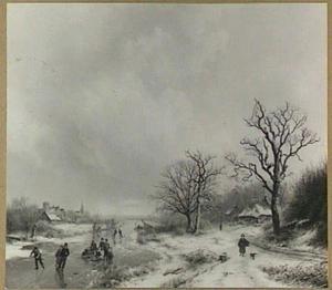 Winterlandschap met schaatsers op een vaart