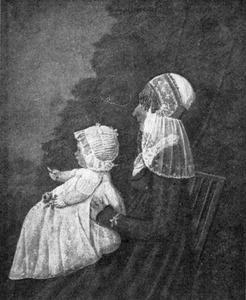 Portret van een vrouw met kind, mogelijk Elisabeth Kikkert (1783-1809) en Margaretha Petronella de Lange (1806-1868)