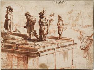 Drie heren en een gids bekijken  vanaf de boog van Septimius Severus de boog van Titus, in Rome