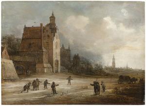 Gezicht op de Schiedamse Poort te Delft met op de voorgrond kegelende boeren en op de achtergrond twee kerken