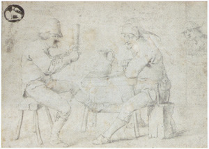 Twee drinkende boeren aan tafel