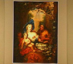 Voorstelling met Bacchus, een vrouw met kind, wijn en oesters