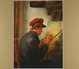 De schilder  Abram van Strij jr. (1790-1840) achter zijn ezel