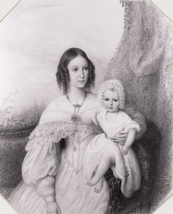 Dubbelportret van Wilhelmina Christina van Valkenburg (1814-1844) en Thomas Wilson (1840-1890)