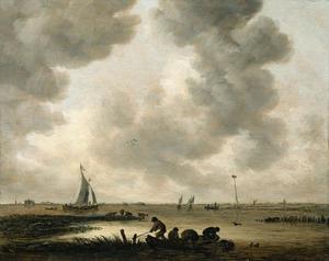 Gezicht op de  Haarlemmermeer bij bewolkte dag met in de verte de Sint Bavo van Haarlem