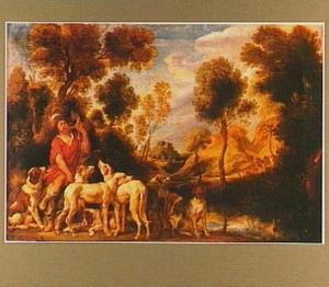Zittende, op zijn jachthoorn blazende jager met een meute honden in een heuvellandschap