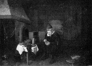 Interieur met oude man etend bij een gedekte tafel