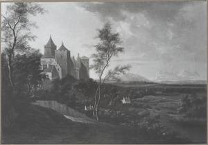 Burcht en benedenstad van Kleef met de Schwanenburg vanaf de Lustgarten