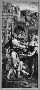 De onthoofding van Johannes de Doper (op de buitenzijde in grisaille: de H. Johannes de Doper)