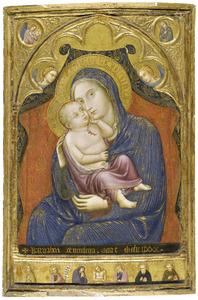 Maria met Kind met twee engelen; de annunciatie in de medaillons boven; aan de onderzijde de dode Christus geflankeerd door de H. Maria van Egypte, Johannes de Doper, de maagd Maria, Johannes de Evangelist, Antonius Abt en Franciscus van Assisi