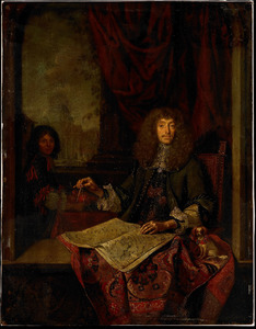 Portret van Carel Quina (1622-1689), ridder van het Heilige Graf; de Sint Pieter te Rome op de achtergrond