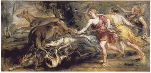 Diana en nimfen tijdens de hertenjacht