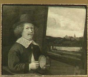 Portret van een schilder (J. van Goyen?) voor zijn ezel met daarop een werk met een rivierlandschap