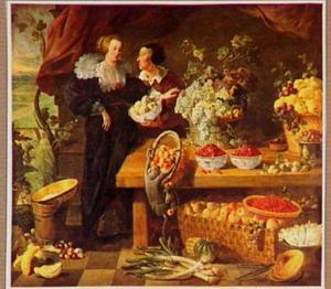 Twee vrouwen bij een uitstalling van groente en vruchten; een aap trekt een mand perziken van de tafel; links een doorkijk naar een landschap