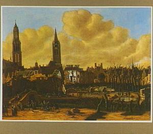 Gezicht op Delft na het springen van het kruithuis op 12 oktober 1654