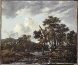 Landschap met een beek en berkenbomen