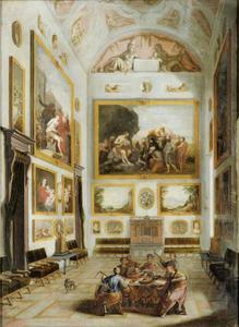 Interieur met schilderijenverzameling en musici rond een tafel