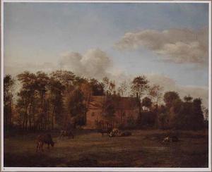 Landschap met grazende koeien in een weiland bij een huis