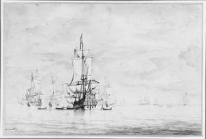 Driemasters en roeiboten op een kalme zee