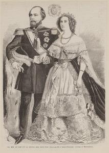 Portret van koning Willem II en koningin Sophie