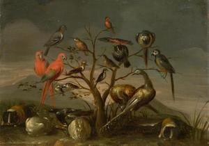 Vogels en knaagdieren in een landschap