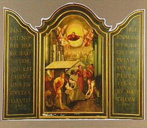 De aanbidding van de herders, op de luiken teksten